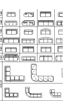 Furniture CAD Blocks: Sofas In Elevation View